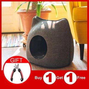 Portátil Forma Cat Pet Bed Cat Caverna Adormecida forma de bolsa Zipper Egg Felt Cloth Pet House Nest Cesta com Almofada