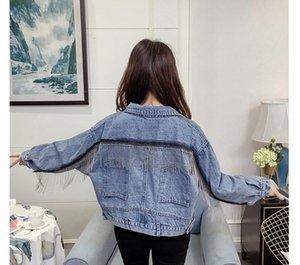 Womens Designer Jeans Jacket Single Breasted Tassel Blue Demin Jacket Fashion Teenager Girls Spring Autumn00