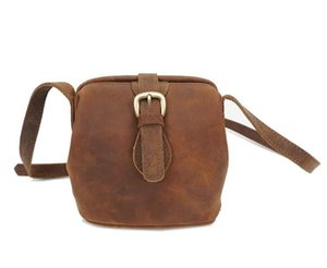 Designer-New Vintage bag, leather lady bag, Mini one-shoulder straddle bag, mad horse leather, cowhide square bag