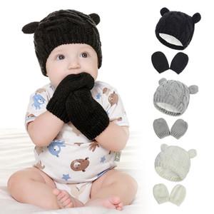 Свободный DHL New 4Colors INS Baby Дети Мальчики Девочки Шапочки с перчатками 3PIECES Набор руно Blank Вязаная Зимний Детские шапки кролика Шапки для 0-2T