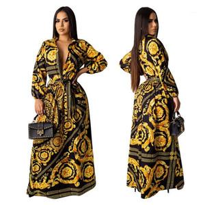 Vestidos Moda manga comprida lapela Neck Floral dourado Impresso vestidos de mulheres roupas de grife de luxo Mulheres Desinger