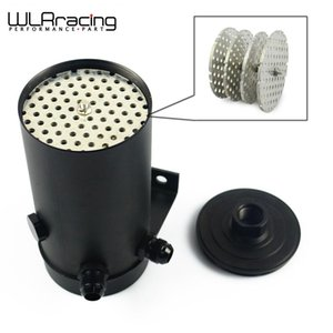 WLR UNIVERSAL ALUMINIUM ANODIZE BLACK OIL CATCH CAN TANK WITH AN8 PORT AN10 FLARE AND 7 8 14 FUEL