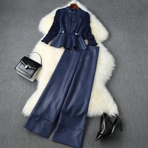 Europäische und amerikanische Damenbekleidung 2020 Herbst Neue Stil Bogen-Shirt Sieben-Punkt-Ärmel Baggy Breitbeinhosen Mode-Anzüge