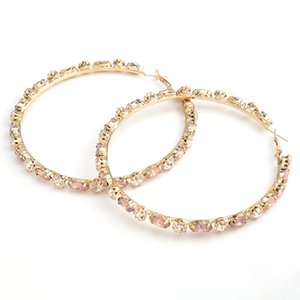 Women Hoop Earring Sparkely Rhinestone Fashion Earrings Classical Style Women Party Birthday Christmas Gift Ins Colorful Earrings