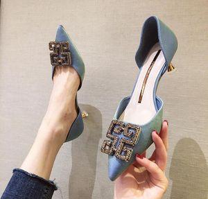 pointues chaussures pour femmes creuses orteil talons stiletto haut dégradé de couleur satin vamp tempérament élégant avec strass