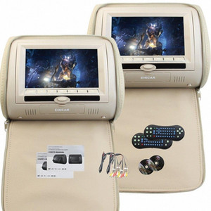 7'' Universal Headrest Video Player Car DVD Player with Wireless Remote Control Support 8 32 Bit games(Car Headrest with Beige) p1o4#