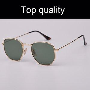 Top qualité 3548 51mm métal ronde lunettes de soleil hexagonaux véritables lentilles en verre G15 hommes femmes pour homme femme avec étui en cuir