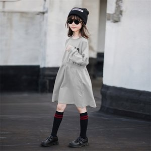 4Y to 16Y Kids Dresses for Girls Girls Autumn Clothes 2020 Cotton Mommy and Me Dress Elastic Waist Baby Sweatshirt Dress,#5650 0924