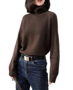 Tailor Schafe Cashmere Pullover Frauen Langarm-Verdickung-Pullover-lose Übermaß Turtleneckstrickjacke weibliche warme Wolle Tops CX200810