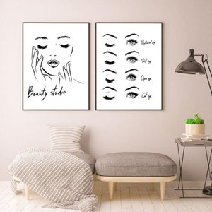 Woman Face Poster Beautiful Eyelashes Make Up Prints Beauty Studio Wall Art Decor Canvas Painting Picture Makeup Wall Decoration