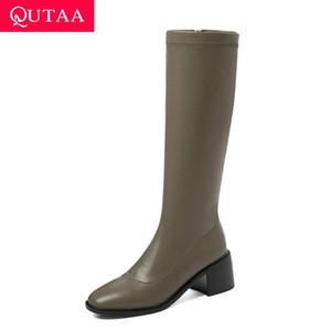 QUTAA 2021 Flock PU cuir cuissardes de maintien au chaud Zipper Femmes Chaussures Taille