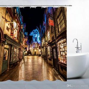해리 포터 테마 샤워 커튼 Diagon 골목 스트리트 야경 목욕 장식 폴리 에스테르 방수 홈 욕실 커튼 세트 69 X 70 인치