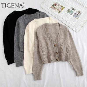 Corea linda TIGENA corto rebeca del suéter de las mujeres 20
