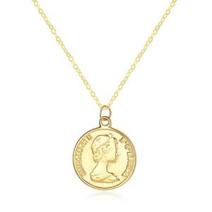 SANYU Elizabeth ronde 14K Colliers Pendentif en or pour l'engagement des femmes de mariage bijoux en or jaune Collares AU585