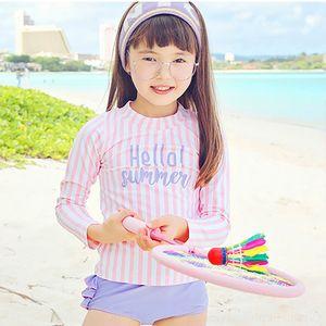 Sıcak Swimsuit boksör CGcR2 Koreli Çocuk uzun kollu güneş geçirmez sıcak bölünmüş kız ve kızlar için öğrenci mayo