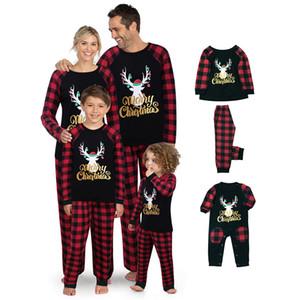 Family Christmas Pajamas Casual Nightwear Family Set Elk Plaid Printed Nightclothes Long Sleeve Long Pants Autumn Sleepwear