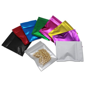Colored Zipper Aluminum Mylar Foil Bag Coffee Beans Candy Packing Storage Resealable Self Sealing Clear Plastic Pouches