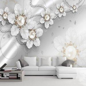 Самоклеющиеся Водонепроницаемый обои 3D Stereo Ювелирные изделия Цветы Фрески Гостиная TV Диван Backdrop Wall Home Decor Papel De Parede