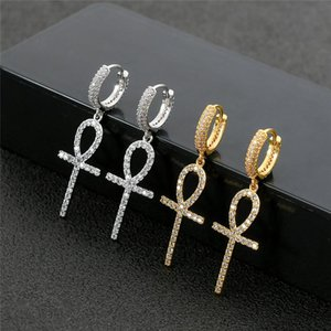 High Quality Gold Silver Ice Out Bling CZ Cross Earrings Hoops for Men Women Nice Gift