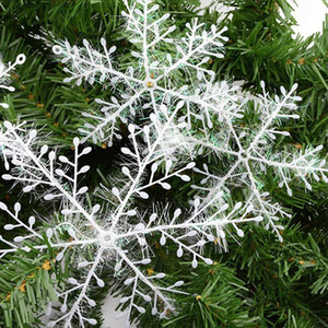 3pcs lot Christmas Decoration Snowflake Christmas Tree Ornament Plastic Snow Flake Artificial Snowflake Decoration Party Supplies VT0538