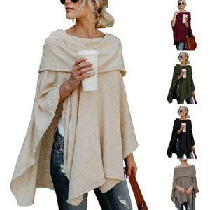 Frühling und Herbst Asymmetrische Pullover Frauen Poncho-Pullover-Strickjacke Asymmetrische Overlay Fest Kleidung Damen Freizeit Fall Tops