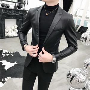 Black PU Leather suits Blazers Men Brand Wedding Party Mens Suit Jacket Casual Slim fit coat Leather male Suit Homme X0923 X0923