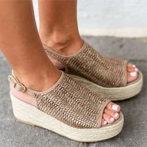 Fairy2019 Thick Muffin Fish Mouth Straw Plaited Article Fisherman Shoe Back Air Vine Bottom Woman Sandals