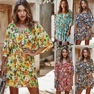 Женщины дизайнер платье Мода тонкого цветочного печатных V шея платье Нового стиль женщины платье Sexy Summer