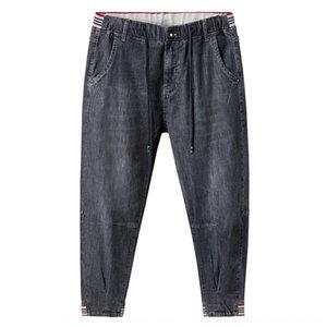 P0IG5 2020 유행 큰 고무 B와 크기 청바지의 새로운 남자의 특별한 색상의 고무 밴드 바느질 허리 수축 발목 청바지 남성 9 개 바지