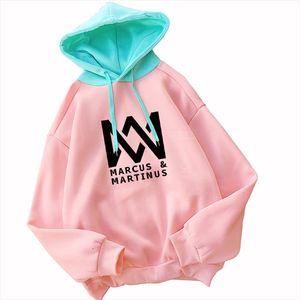 Women Hoodies New Contrast Pastel Color Pink MARCUS MARTINUS Hip Hop Girls Sweatshirts Fleece Winter Thick Outwear Top