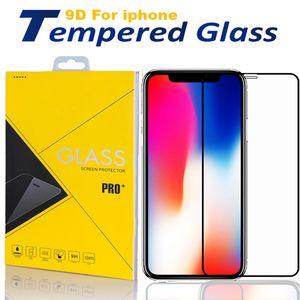 El vidrio templado para el iPhone 12 11 Pro X protector de pantalla Max X XR 8 Samsung 9H la cubierta completa del pegamento con el paquete al por menor