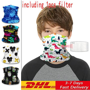 US STOCK Kids Face Masks With filters Sport Cycling Children Facemask Bandanas Magic Scarf Cotton Mask Kid Neck Gaiter Mascarilla FY7143