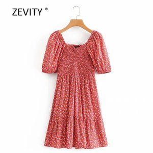 Zevity Frauen Vintage Quadratkragen-Hauchhülse Blumendruck beiläufigen Kleides Damen elastische Falten vestido schicke Minikleider DS4047