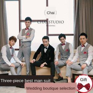 WMrst Four Seasons costume meilleur gilet groupe occasionnel de mariage de mariage chemise costume homme hommes veste robe de marié robe trois pièces