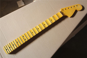 Factory Custom Yellow Electric Guitar Neck Kit(Parts) with Scalloped neck,6 Strings,21 Frets,Maple fretboard