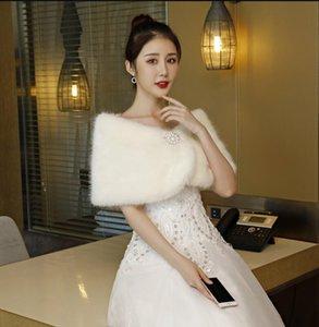 Cape, bridal hair shawl wedding dress warm shawl autumn winter mink hair with diamond
