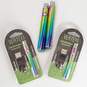 VERTEX Preheating Vape Battery Rainbow 350mAh VV 510 Thread Vape Cartridges Battery Adjustable Voltage Vape Pens Oil Carts Battries