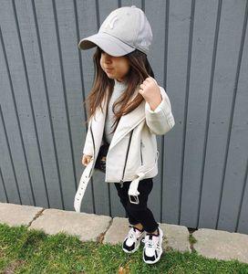 Moda New Kids Jacket 2020 bambini giacca di pelle PU outwear ragazze cintura bavero bianco a maniche lunghe per bambini giacca abiti firmati A3996