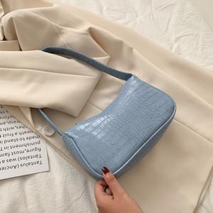 Bolsa de hombro pequeño cocodrilo Casual Patrón Mujeres Baguette bolsos de Soild del color de AII de ajuste de las señoras de la axila axila Mujer Bolsa