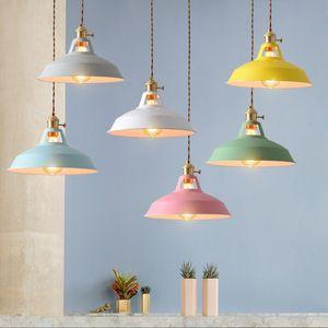 style rétro industrielle lampe colorée Restaurant cuisine maison Pendentif lumière vintage suspendus abat-jour Lampes décoratives