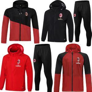 19 20 21 AC Milan IBRAHIMOVIC mens revestimento do hoodie Borini preto vermelho do inverno de treino de futebol revestimento blusão Silva Kessie camisola com capuz