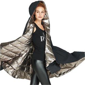 Eva liberté 2020 hiver nouveau épaississement manteau lumineux femmes marque fashioned double face portant veste en duvet à capuchon EF6898 femme