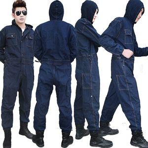 S-5XL Erkek Denim tulumları İş Kıyafetleri Tulum Uzun Kollu Çok Pocket Kapşonlu Casual Büyük Beden Üniforma Giyim dayanı Pantolonlar Tulumlar