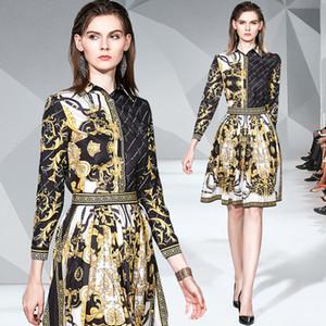 Kraliyet Stil İki adet Pileli Etek Suit Ofis Lady İş Parti Balo Elbise + Kadın Vintage Baskı Gömlek Elbise İlkbahar Güz Runway ayarlar