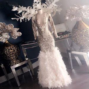 Piume nuovo sorprendente sera della sirena abito a maniche lunghe in pizzo alta profondo scollo a V Prom Dresses Qualità partito formale abiti robe de soiree