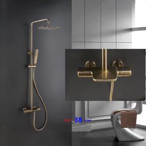 Messing Thermostat Brushed gold Schwalldusche Set Badezimmer-Dusche-Mischer-Hahn Luxus-Bad-Dusche-Hahn-Wandhalterung