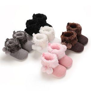 FOCUSNORM 5 Renk Sonbahar Kış Bebek Kız Erkek Çizme Katı Kürk Toplar Hood Orta Buzağı Boy Düz Topuk Bebek Ayakkabıları ile 0-18M