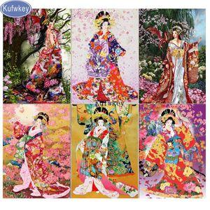 DIY 5d Diamond Painting SAKURA,Japanese woman,geisha cross stitch diamond picture Square Round Embroidery 5d Home Decor
