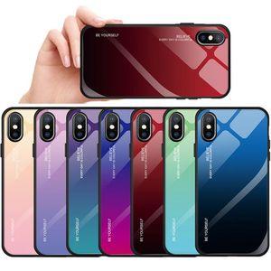 Gradiente de colores de cristal templado para Iphone 7 8 Plus 6 6s brillante del caso para Iphone Xr X pUdec Smartphone cubierta completa y glaseado