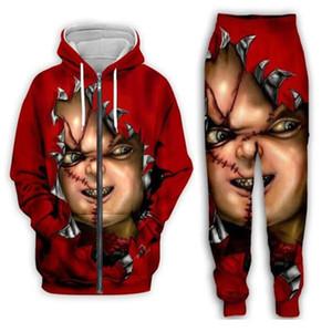 Nueva versión de Hombres / Mujeres película de terror Chucky divertido 3D impresión de la manera de los chándales de los pantalones + cremallera con capucha Casual Ropa de deporte L012